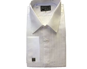 AT Harris Mens White Cotton Pleated Tuxedo Shirt