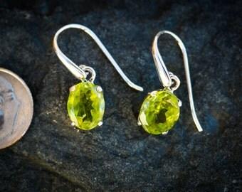 Peridot Cut Earrings - Peridot and Sterling Silver cut dangle earrings - Peridot Earrings - Peridot Dangles - Peridot Cut earrings