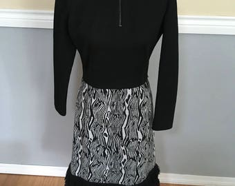 Leslie Fay Black Sweater Knit Dress