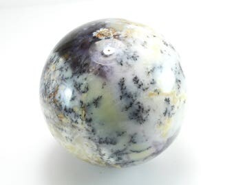 Dendritic Agate Sphere, Purple and White, M-2019