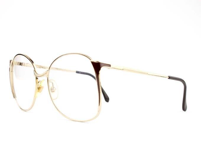 80s Vintage Glasses   Round Oversized Eyeglasses   1980s Gold and Cocoa Eyeglass Frame   NOS Deadstock Eyewear - Tempest