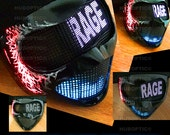 RAGE DJ Mask - Rave Mask - Dance Mask for Stage Gigs Shows Light Up Costume Helmet Party Cosplay Cyborg Robot Bot Head Steampunk Costume