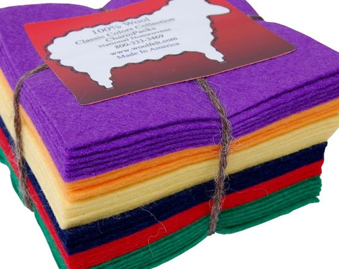 """National Nonwovens - Homespun 100% Virgin Merino WoolFelt® - (36) 5"""" squares - Made in America - Great for wool applique projects"""