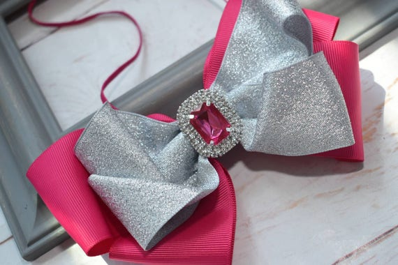 Shimmery silver and fuchsia pink bow headband - Baby / Toddler / Girls / Kids Headband / Hairband / Hair bow / Barrette / Hairclip