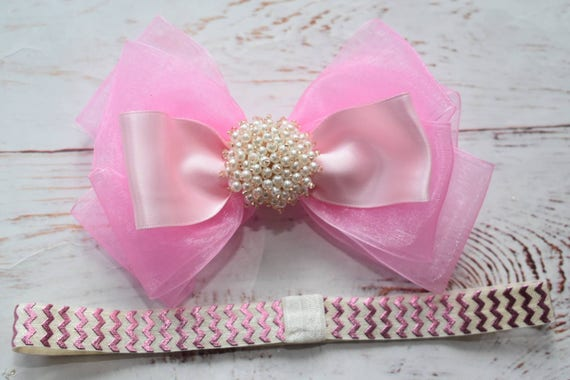 Special occasion pink bow headband - Baby / Toddler / Girls / Kids Headband / Hairband / Hair bow / Barrette / Hairclip
