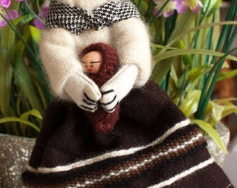 Handmade Andean knitted doll 7in. tall
