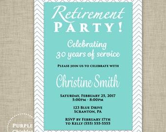 Retirement Party Invitation Chevron Blue White Invitation Adult Party Printable Invite 5x7 Digital JPG File 350