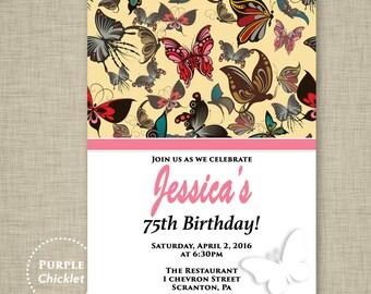 Printable Pink Butterfly Invitation Garden Party Invite Pink 5th 30th 40th Birthday invitation Flower Invite Nature Invite DIY 5x7 JPEG 325
