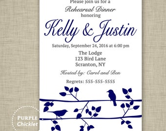 Rehearsal Dinner Navy and Charcoal Engagement Invitation Cocktail Party Invite Birds on Tree Branch Couples Shower Invite Printable file 40