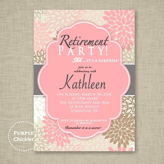 surprise retirement party invitation pink adult surprise party, Party invitations