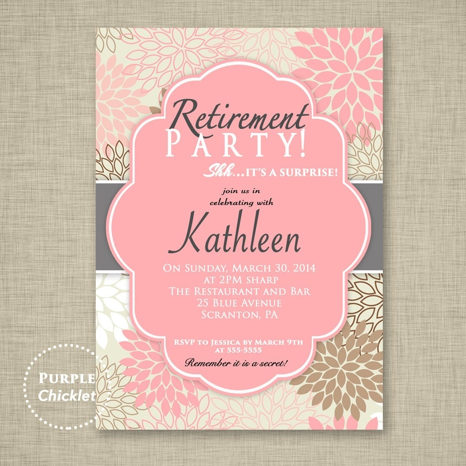 Surprise Retirement Party Invitation Pink Adult Surprise Party – Surprise Retirement Party Invitation