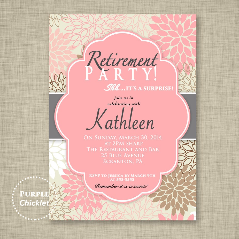 Surprise Retirement Party Invitation Pink Adult Surprise Party