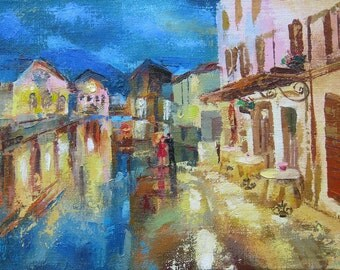 Picture Art Original Oil Painting-Night Street, Rain