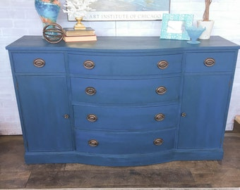 AVAILABLE: Blue Painted Drexel Buffet
