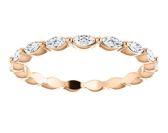 14K Rose Gold Marquise Sapphire Eternity Band, Gemstone Stackable Wedding Ring, Anniversary Band