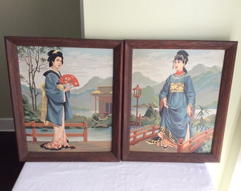 Vintage 1950s 1960s Japanese GEISHA Paint by Numbers Pair