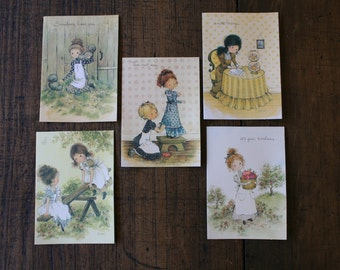 Child Birthday Holly Hobbie Card Unused Cute Greeting Card Ephemera with Envelope Children Illustration PRICE PER CARD