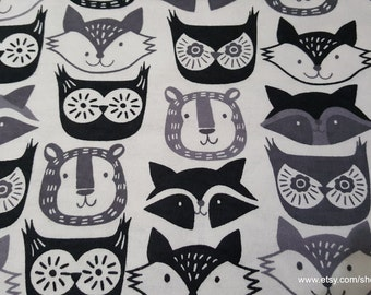 Flannel Fabric - Fox Faces Gray - 1 yard - 100% Cotton Flannel