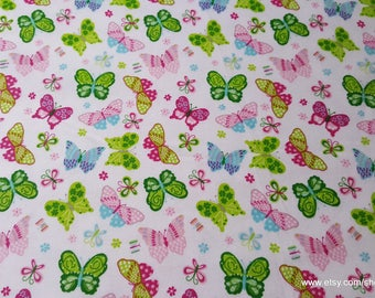 Flannel Fabric - Butterflies on White - 1 yard - 100% Cotton Flannel