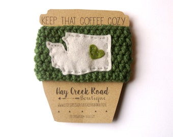 Love Your State Coffee Cozy- 30 Colors- felt/crochet/reusable/ecofriendly/sleeve