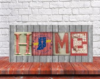 Indiana Bicentennial Home Sign - Indiana Bicentennial Sign - Indiana Rustic Home Sign - Indiana Hoosier Bicentennial Sign - Indiana Sign