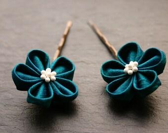 Set of 2 Kanzashi flower hairpins, teal, silk dupioni, dark turquoise, hairclips, bobby pins, silk flowers