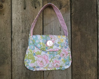 Girls Fabric Purse with Button - floral, vintage 70's look - (WALLET SOLD SEPARATELY)