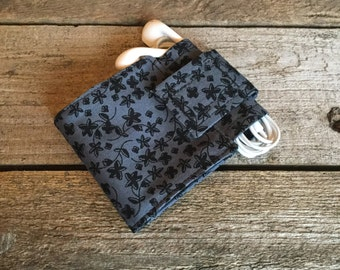 Wallet and Earbud Holder, Floral Modern