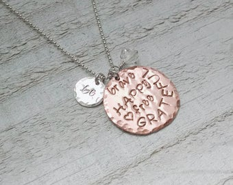 The Be Brave, Happy, Free, Grateful Necklace with Herkimer Diamond Charm, Copper Silver Inspirational Gift for Her, Mother's Day for Mom
