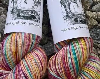 Hand Dyed Sock Yarn/Fingering Weight - 75/25 Superwash Merino/Nylon - May Pole