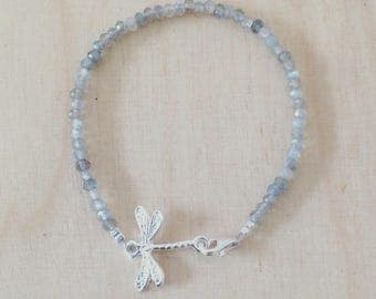 Bracelet with Dragonfly and labradoniet