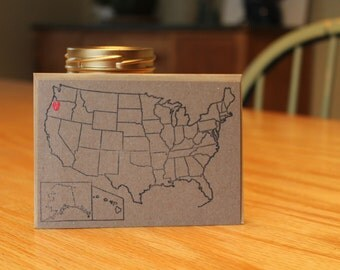 5 postcards with envelopes, USA map stamp with heart