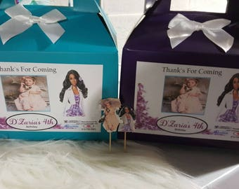 Barbie inspired  Favor Boxes sets of 12