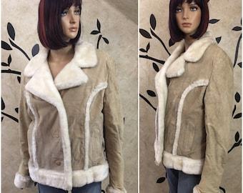 Tan Leather coat, Leather jacket, Fur coat, Women size M/L coat, Winter coat, Warm jacket, Women's winter coat