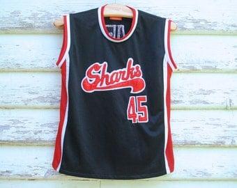 90s Vintage Black Basketball Tank Top Sharks Mesh Singlet Grunge Sportswear Hip Hop Vtg 1990s Size M-L