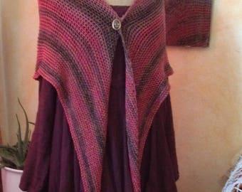REDUCED-OUTLANDER inspired triangular garter stitch shawl, handknit, 100 % cotton - shawlette, shoulder shawl