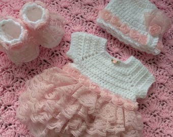 "Ruffled crochet ""onsie"" baby set with booties and hat, this one is gorgeous."
