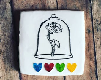 Beauty and the beast / paint your own cookie /  beauty and the beast cookie/ bella sugar cookies- 1 dozen cookies