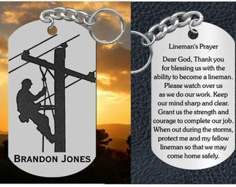 Lineman Keychain with Prayer, Engraved Steel Keychain, Personalized FREE, Great Gift