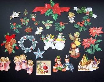 Vintage 1950's Christmas Card Cut Outs  Images Crafts Decoupage Scrapbook