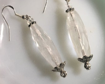 Quartz and pewter earrings
