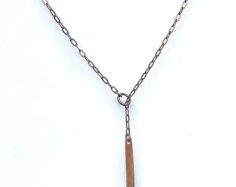 Copper and brass lariat necklace