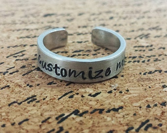 "Custom Personalized 1/4"" Aluminum Adjustable Ring - Hand Stamped"