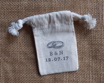 "Personalized Wedding Ring Bag, With This Ring, I Do, Initials, Date, Natural Muslin 2"" x 3"", Ring Ceremonty Ring Pillow, Ring Bearer, Cotton"