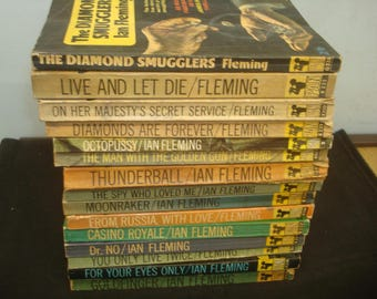 Full Set of 14 Pan James Bond Books. with The Diamond Smugglers