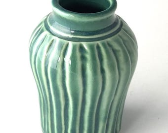 Carved Vase in Peacock Green