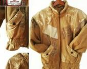 Manteau de cuir patchword...