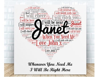 When You Need Me Love Word Message Ceramic Plaque. Personalised Gift. Birthday, Christmas, Anniversary, Wedding, Valentine's Day