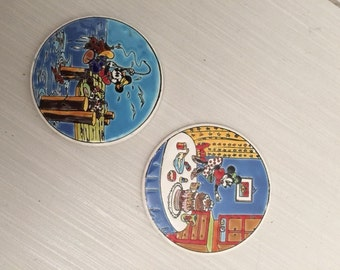 Vintage Nassos Mickey Mouse & Minnie Mouse Tiles