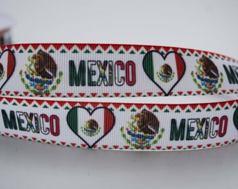 "Mexican Flag Mexico hispanic Red White Green Printed Grosgrain Ribbon 7/8"" Bandera Mexicana Projects MF012318"